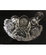 "VTG AMERICAN BRILLIANT CLEAR CRYSTAL CUT GLASS HANDLED NAPPY DISH 6"" - $81.18"