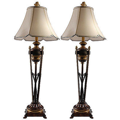 Awesome Vintage Style Iron TorchiereTall Buffet Lamp,Set of Two,40.5''H.