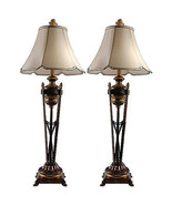 Awesome Vintage Style Iron TorchiereTall Buffet Lamp,Set of Two,40.5''H. - $292.05