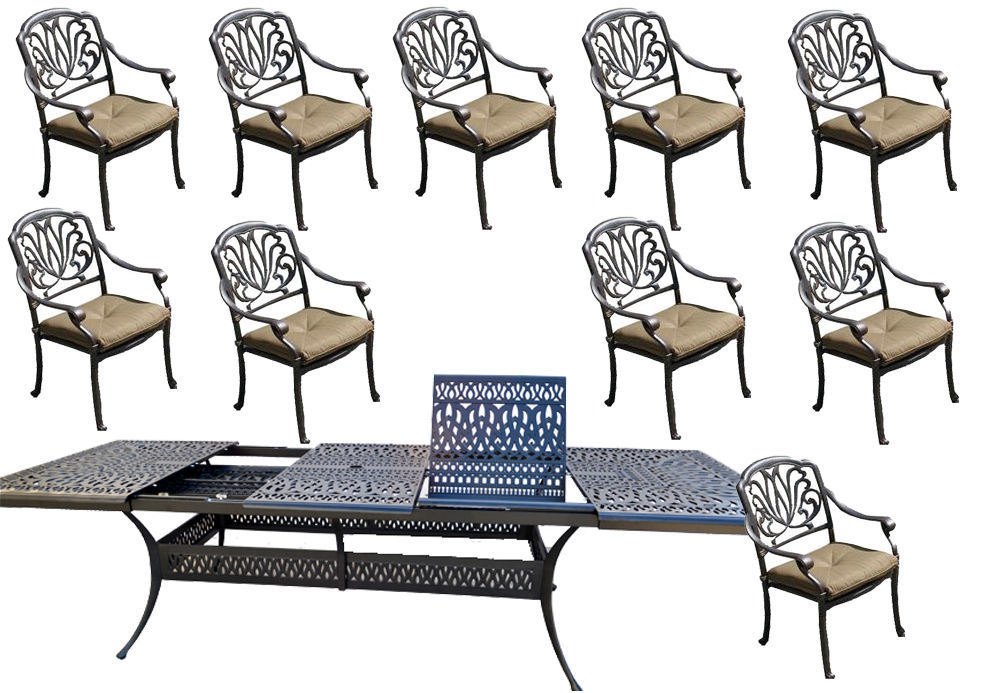11 piece cast aluminum dining set patio furniture Elisabeth extendable table 132