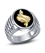 Round Cut Diamond White Gold Plated 925 Silver Black Enamel Pisces Zodiac Ring - $87.20