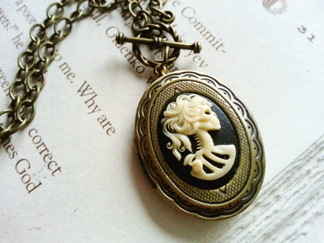 Vintage Gothic Steampunk Victorian  Lady  Cameo Pendant BRONZE Necklace WHI