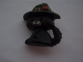 BLACK KITTEN WITH LARGE HAT PIN - $5.93