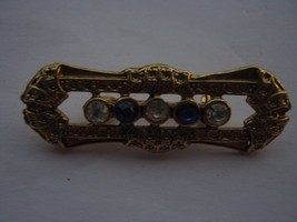 SMALL BAR PIN WITH BLUE AND CLEAR RHINESTONES - £7.55 GBP