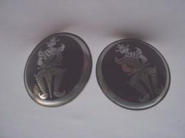 BLACK AND SILVER COLORED ORIENTAL LOOK  SCREW BACK EARRINGS - $9.89