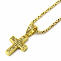 """Mens Gold Tone Micro Two Row CZ Cross Pendant 1.5mm/24"""" Box Chain Necklace - £14.19 GBP"""