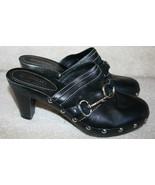 Coach Black Leather Clog Mule Wedge Heels 8M Women's - $69.99
