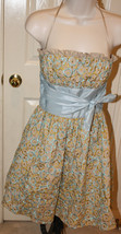 Betsey Johnson Evening Tan Embroidered Floral Strapless Dress Sz 2 Party Tulle - $89.99
