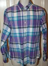 J.Crew Men's Purple Turquoise White Black Plaid Long Sleeve Shirt Sz Medium - $29.99