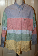 Tommy Hilfiger Men's Red Blue Green Yellow White Stripe Long Sleeve Shir... - $39.99