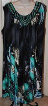 Sandra Darren Navy Teal Floral Beaded Sleeveless Shift Dress Sheath Sz 2... - $39.99