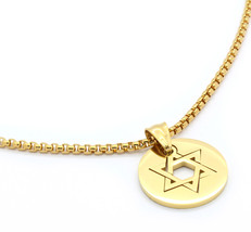 "Stainless Steel Gold Plated Star Of David Pendant 24"" Round Box Necklace... - £15.05 GBP"