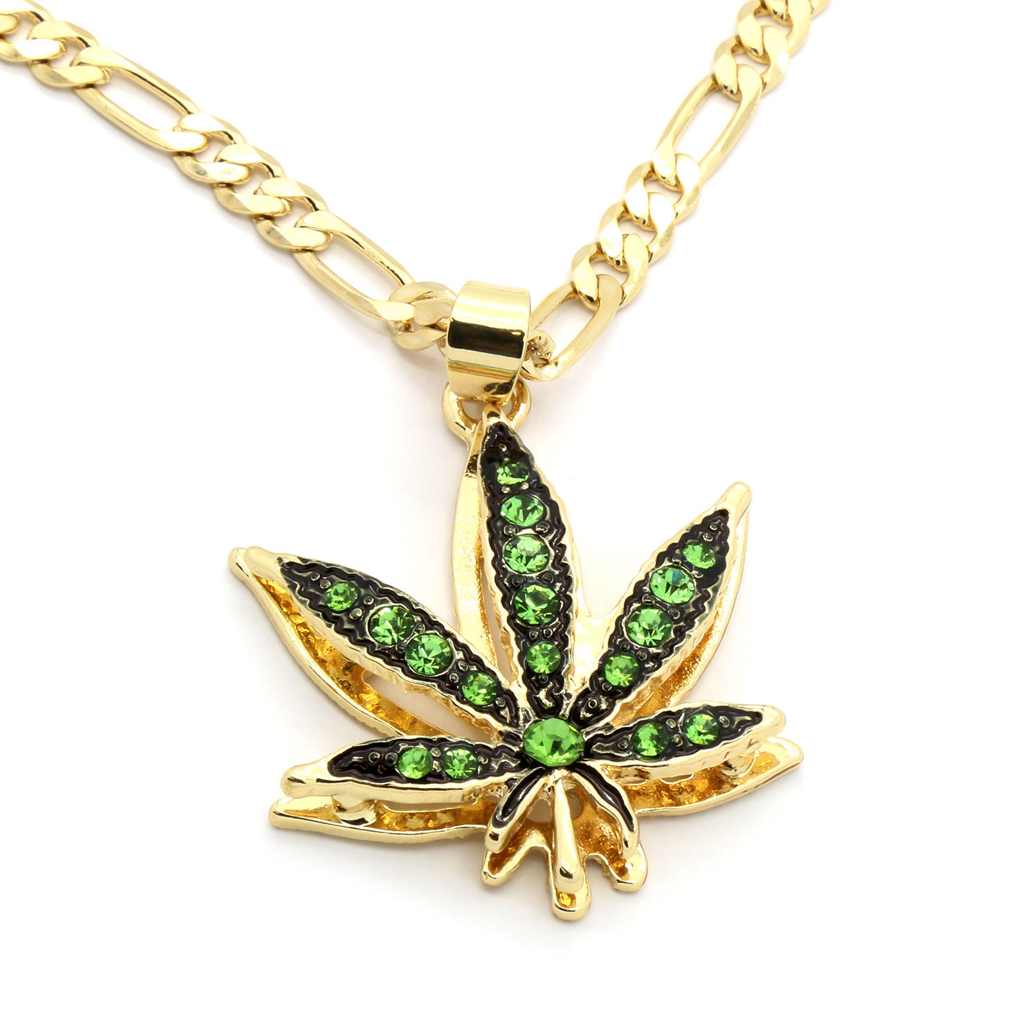 "14k Gold Plated Mini Marijuana Green CZ Stone Pendant 24"" Figaro Chain Necklace"