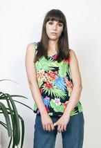 Jungle print tank top 90s floral pattern festival top - $32.65