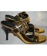 Donald J Pliner Nelia Gold Slide Mule Sandal Heels $265 Women's 8.5 1/2M... - $89.99
