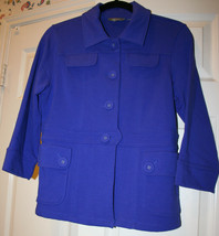 Motto Your Style Mantra Royal Blue Purple Knit Blazer Jacket Size Small QVC - $39.99