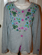 Talbots Petites Grey Purple Floral Button Sweater Size Large Embroidered... - $29.99