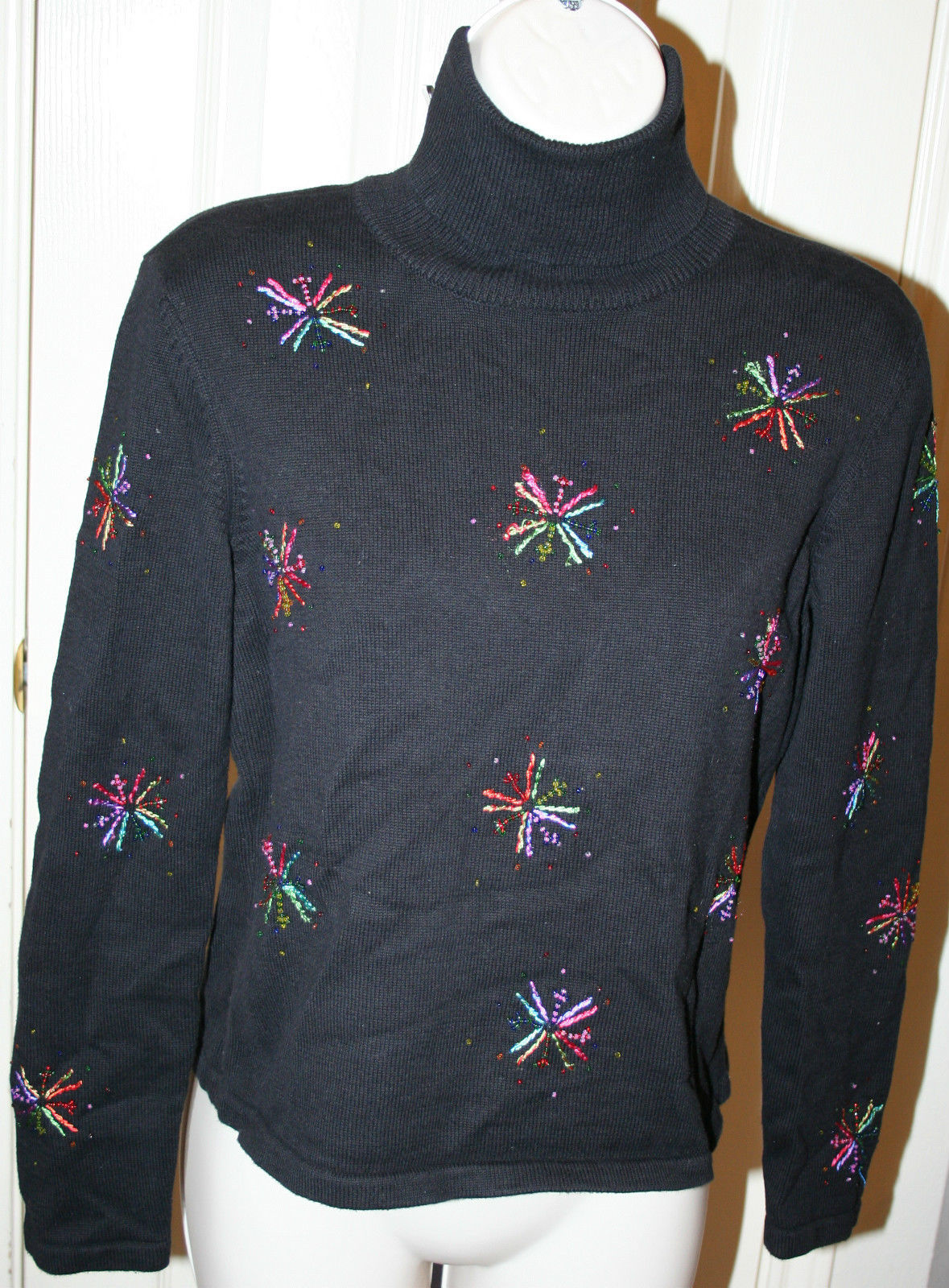 Talbots Petites Black Beaded Starbursts Colored Threads Sweater Turtleneck