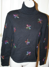 Talbots Petites Black Beaded Starbursts Colored Threads Sweater Turtleneck - $29.69