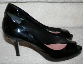 Vince Camuto Black Patent Leather Kira Open Peep Toe Pump $89 Heels 7M 7B - $39.99