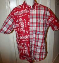 Tommy Hilfiger Men's Short Sleeve Red Plaid Floral Hawaiian Button Shirt... - $24.99