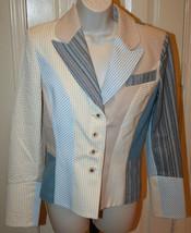 St. John Sport Marie Gray Blue Khaki Seersucker Patchwork Jacket Blazer Small - $99.99