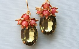 Coral Earrings, Green Glass Stones, Vintage Glass, Frieda Collection - $38.00