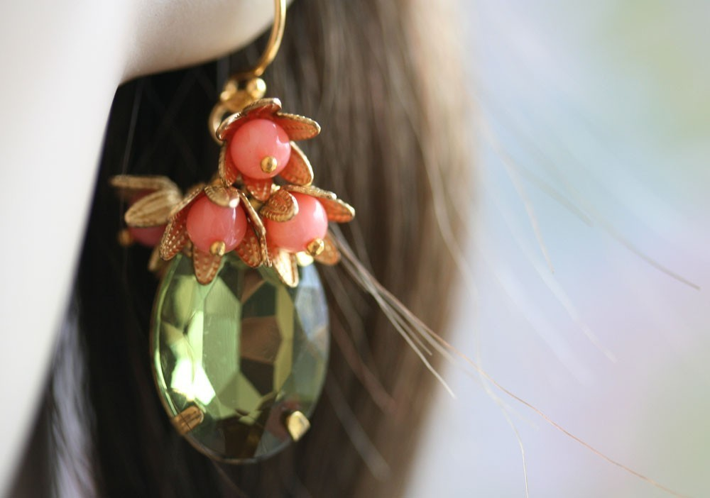 Coral Earrings, Green Glass Stones, Vintage Glass, Frieda Collection