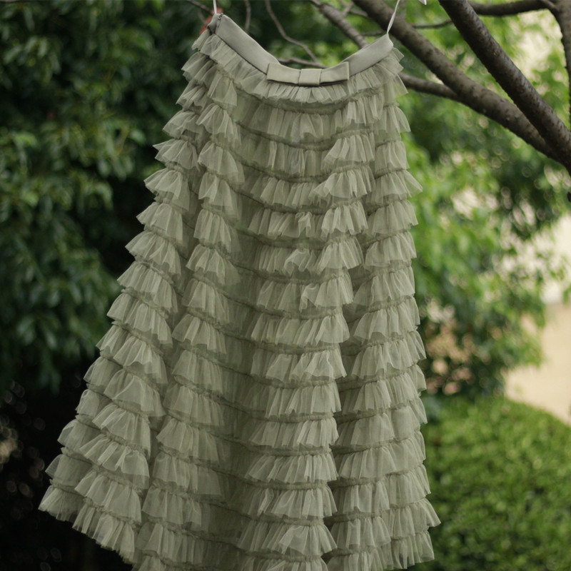 Green Ruffle Tiered Tulle Skirt Layered Long Bridal Wedding Prom Tulle Skirt