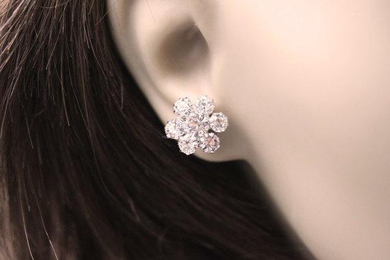 Rhinestone Stud Earrings - Bridal Jewelry - Bridal Rhinestone Earrings