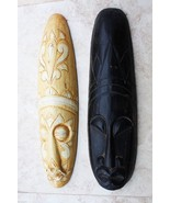 "Pair of Vintage Folk Art Tribal Hand Carved Wooden Mask 20"" Collectible ... - $29.69"