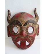 "Antique Folk Art Tribal Hand Carved Hand Painted Wooden Mask 10"" Wood Ar... - $49.49"