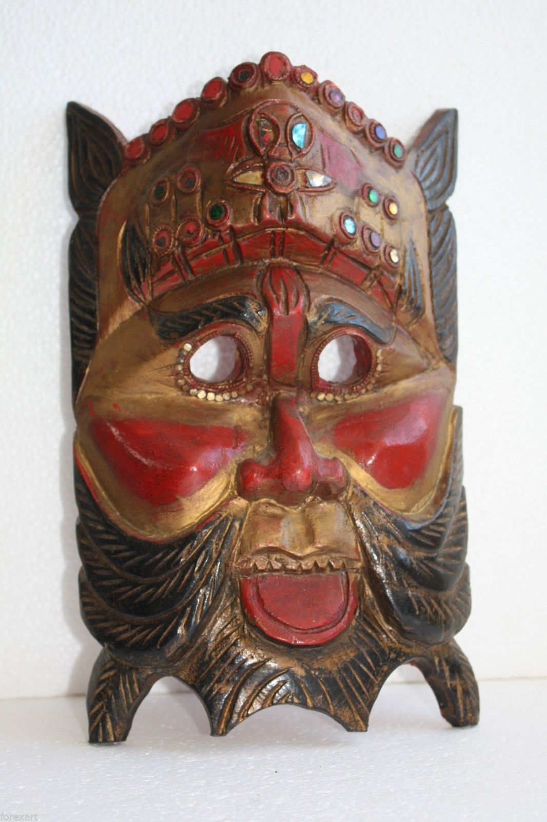 """Antique Folk Art Tribal Hand Carved Hand Painted Wooden Mask 11"""" Wood Art # 5 - $49.49"""