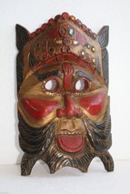 "Antique Folk Art Tribal Hand Carved Hand Painted Wooden Mask 11"" Wood Ar... - $49.49"