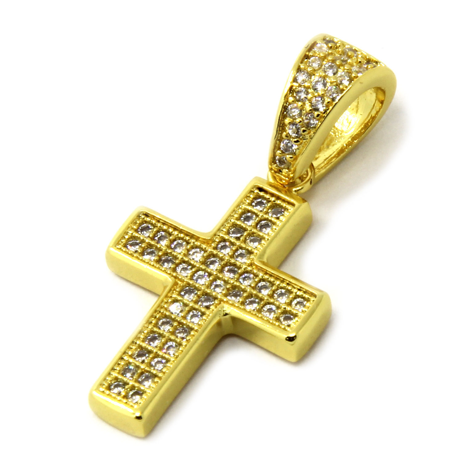 "Mens Gold Tone Micro Two Row CZ Cross Pendant 1.5mm/24"" Box Chain Necklace"