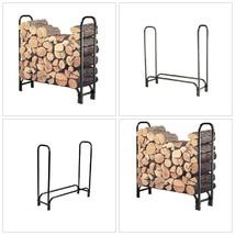 4 Foot Firewood Log Rack Durable Steel Outdoor Storage Wood Holder Firep... - $46.63