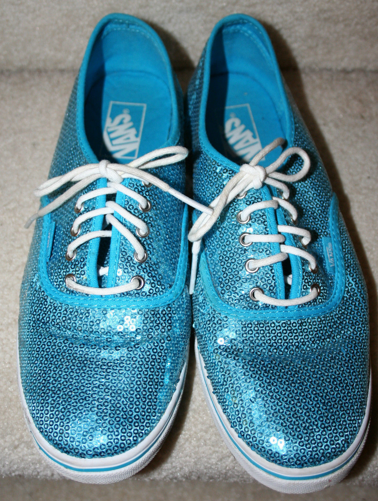 Van's Fashion Turquoise Sequins Tennis Shoes 10.5 1/2M Womens Athletic Flat Lace