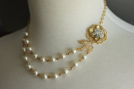 Pearl Rhinestone Necklace, Wedding Jewelry, Gold Pearl Necklace, Bridal ... - $52.00