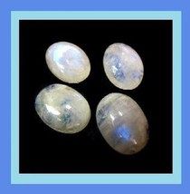 9.45ctw Lot of 4 Snowy White Rainbow MOONSTONE Oval Cabochon Loose Gemst... - $12.99