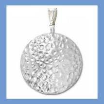 Hammered and Polished Round Disc 1 3/4 Inch Sterling Silver Pendant - $24.99