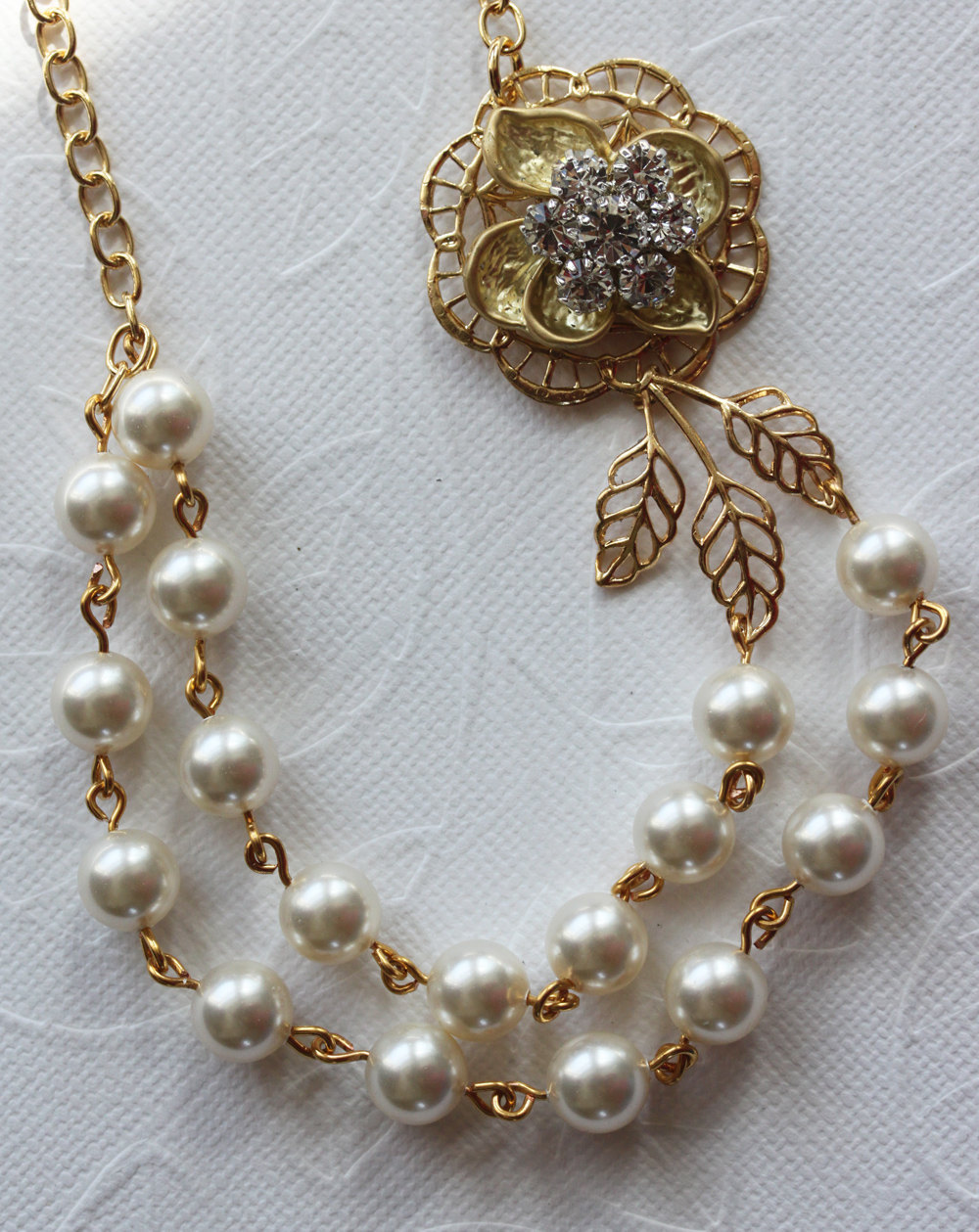 Pearl Rhinestone Necklace, Wedding Jewelry, Gold Pearl Necklace, Bridal Jewelry