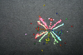 Talbots Petites Black Beaded Starbursts Colored Threads Sweater Turtleneck image 2