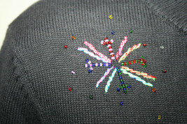 Talbots Petites Black Beaded Starbursts Colored Threads Sweater Turtleneck image 3