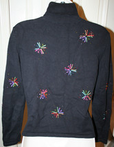 Talbots Petites Black Beaded Starbursts Colored Threads Sweater Turtleneck image 6