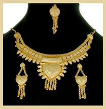 Bollywood Heart Necklace Earrings and Tikka Yellow 18k Gold Plated Jewel... - $49.99