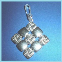 Diamond Shaped Criss Cross & Solid Squares 2 Inch Sterling Silver Pendant - $24.99