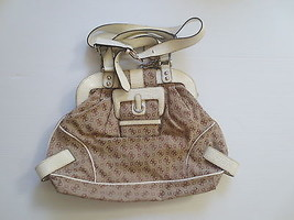 Guess Khaki Beige White Logo Bag - Mint Used - $24.99