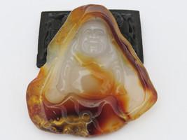 Vintage Natural Agate Happy Laugh Maitreya Buddha Loose Gemstone Make fo... - $285.00