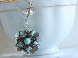 Turquoise Flower Necklace  , Flower Necklace , Vintage Jewelry, Turquois... - $36.00