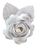 12 SILVER silk large roses wedding favor flower corsage pick - $7.99